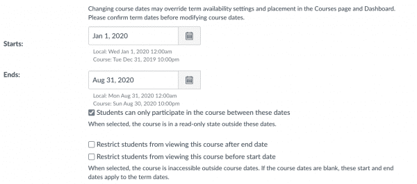 Canvas extend course date