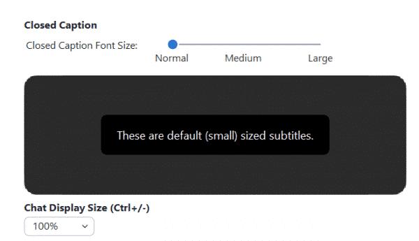screenshot of adjusting caption font size