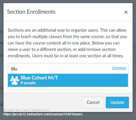 Image of editing section enrollments