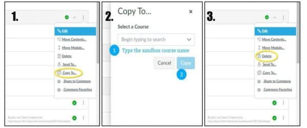 Image of steps to copy and delete modules