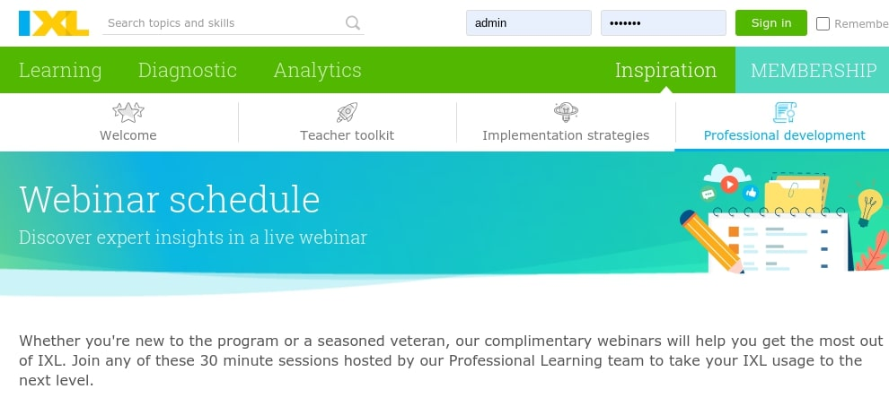 IXL complimentary webinar sessions