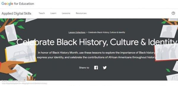 Image of Applied Digital Skills black history page