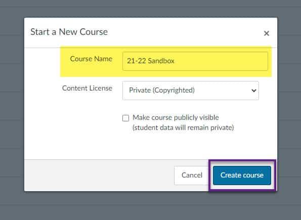 Giving the course a name