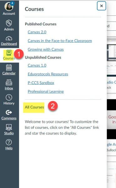 Visual of buttons needed to access courses