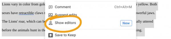 Show editors