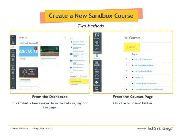 Two ways to create a course