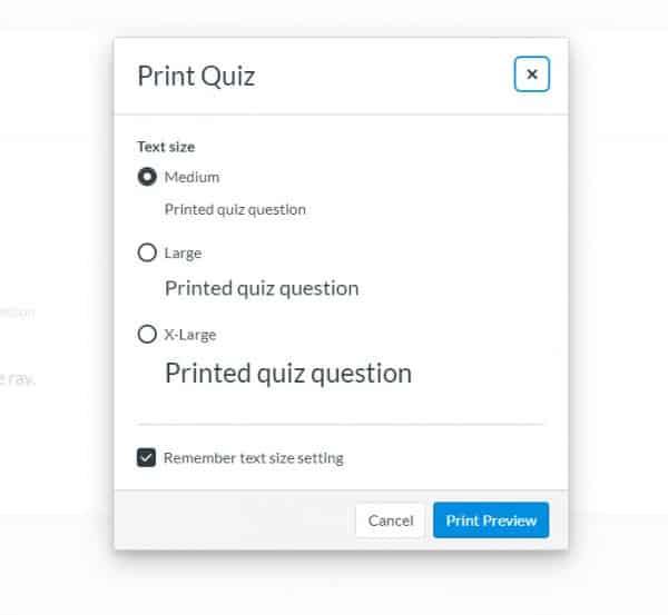 menu to select print size