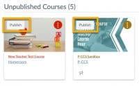 click publish on the course card on the dashboard